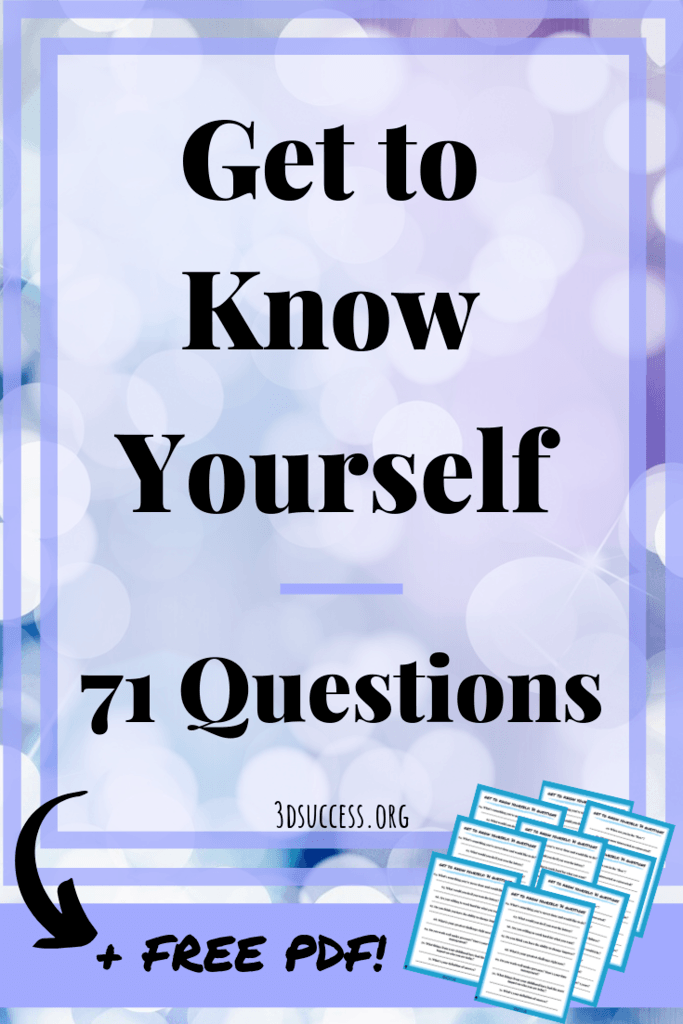 Get to Know Yourself- 71 Questions Pin