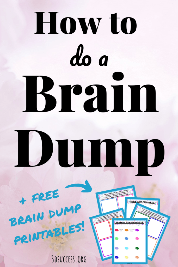 brain dump printables pin