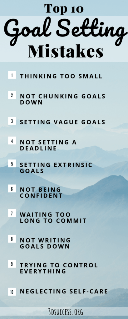 top 10 goal setting mistakes infographic
