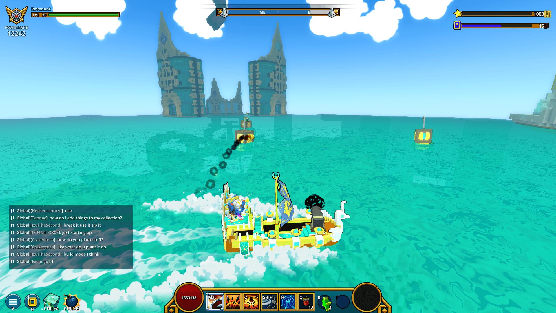 Boat shooting Golden Seashells