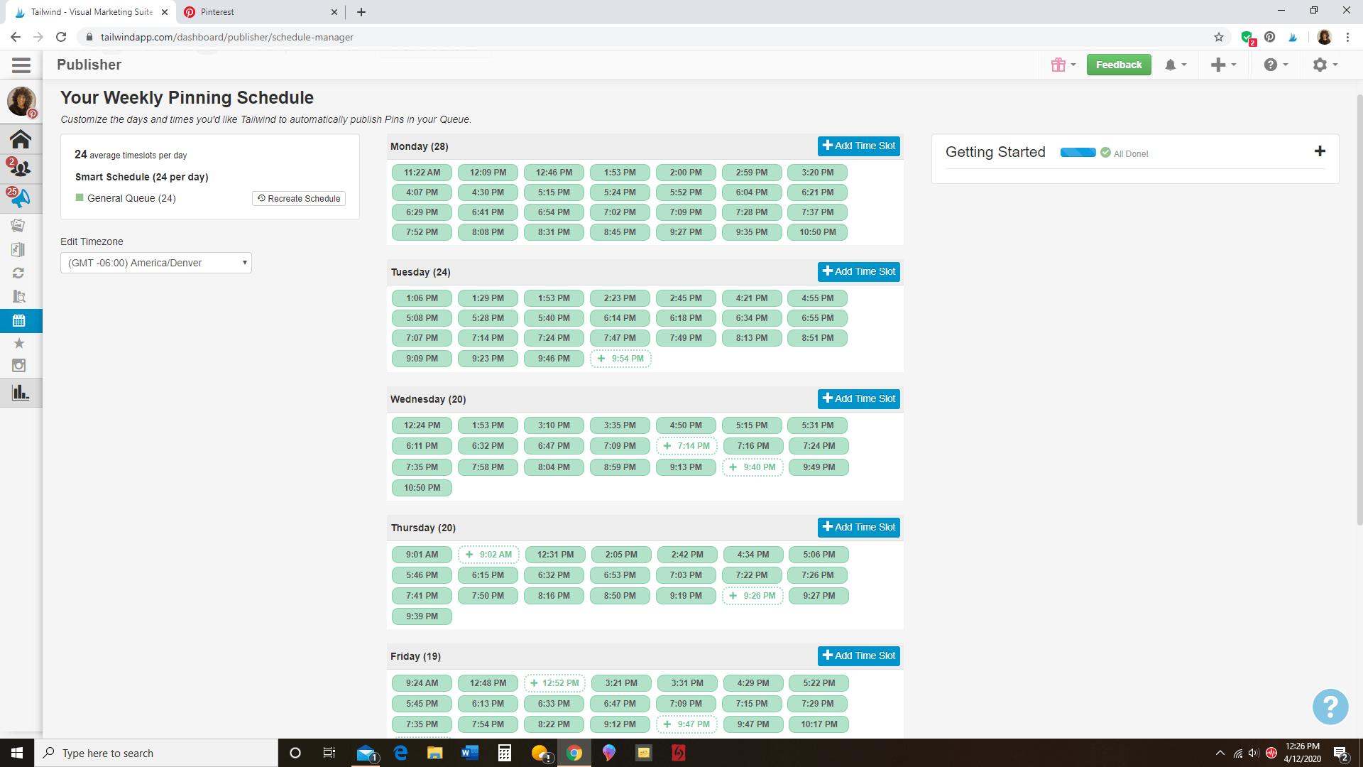 schedule pins to Tailwind queue