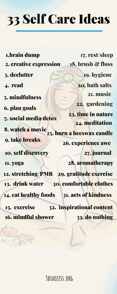 33 Self Care Ideas Infographic